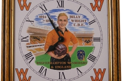 Billy Wright Clock incl. frame 8 x 8 in clockface in gouache, commemorating Billy Wright at Molineux