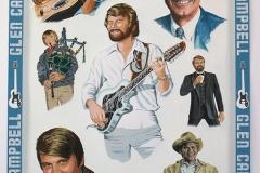 Glen Campbell multi portrait -- 24 x 20in gouache lighter